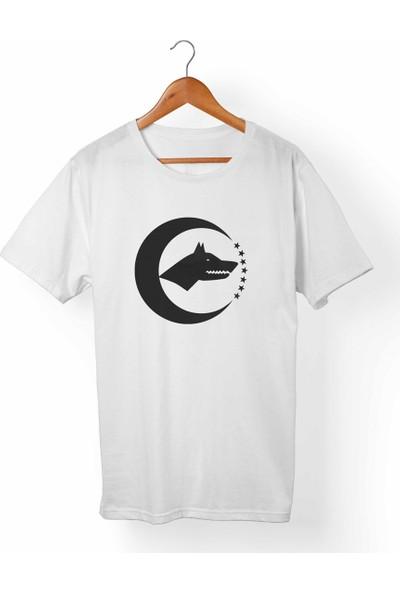 Muggkuppa Ay Yıldız Türk-Bozkurt Çocuk Beyaz T-Shirt