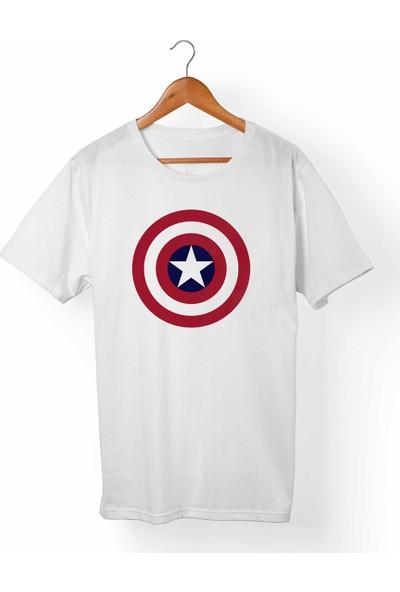Muggkuppa Captain America Çocuk Beyaz T-Shirt