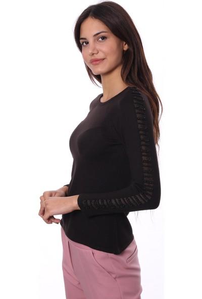 Selis Kadın Triko Bluz 5039 Siyah/Black 28W08005039
