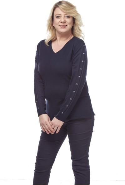 Selis Kadın Büyük Beden Triko Bluz 6133 Lacivert/Navy 28W780006133