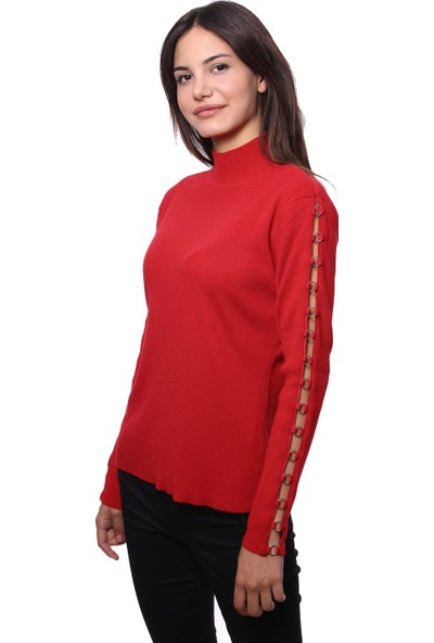 Selis Kadın Triko Bluz 6029 Kırmızı/Red 28W78006029