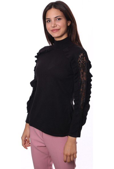 Selis Kadın Triko Bluz 6035 Siyah/Black 28W78006035