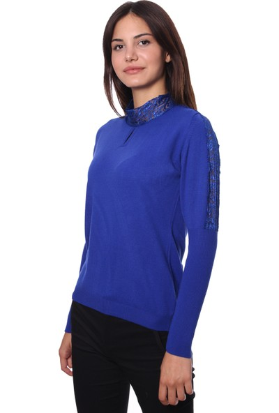 Selis Kadın Triko Bluz 6045 Sax/Royalblue 28W78006045