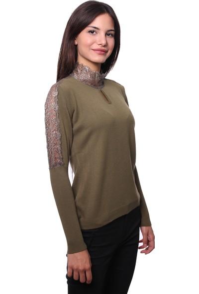 Selis Kadın Triko Bluz 6045 Haki/Khakı 28W78006045