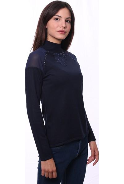 Selis Kadın Triko Bluz 6047 Lacivert/Navy 28W78006047
