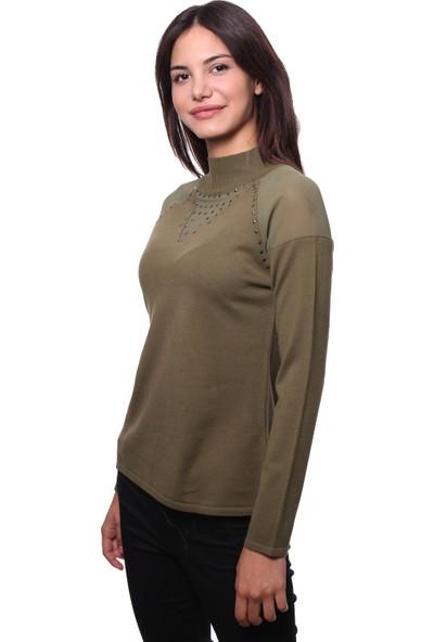 Selis Kadın Triko Bluz 6047 Haki/Khakı 28W78006047
