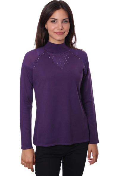 Selis Kadın Triko Bluz 6047 Mor/Purple 28W78006047