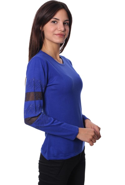 Selis Kadın Triko Bluz 6055 Sax/Royalblue 28W78006055