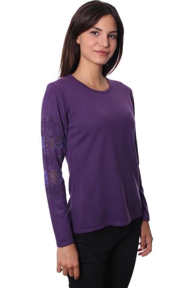 Selis Kadın Triko Bluz 6055 Mor/Purple 28W78006055