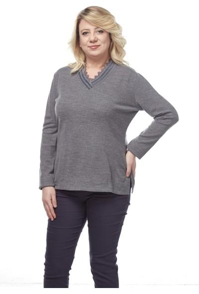 Selis Kadın Büyük Beden Triko Bluz 6075 Gri/Grey 28W78006075