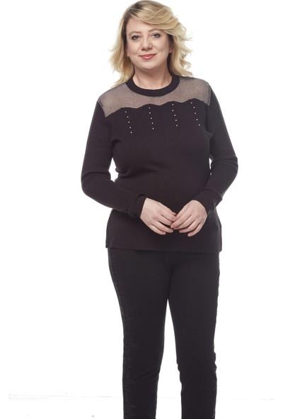 Selis Kadın Büyük Beden Triko Bluz 6079 Siyah/Black 28W78006079