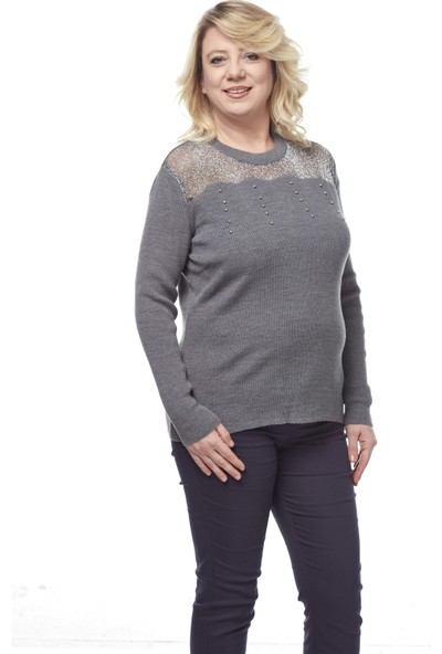Selis Kadın Büyük Beden Triko Bluz 6079 Gri/Grey 28W78006079