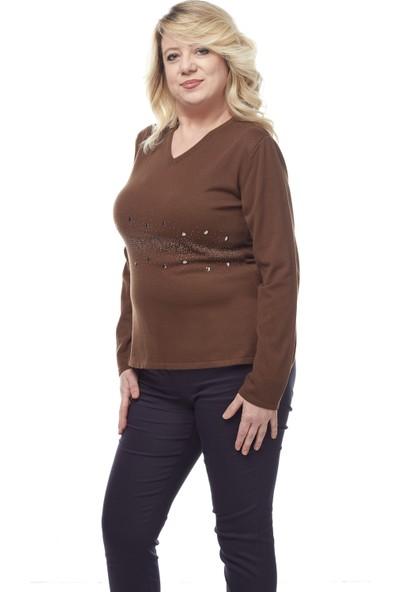 Selis Kadın Büyük Beden Triko Bluz 6085 Kahve/Brown 28W78006085