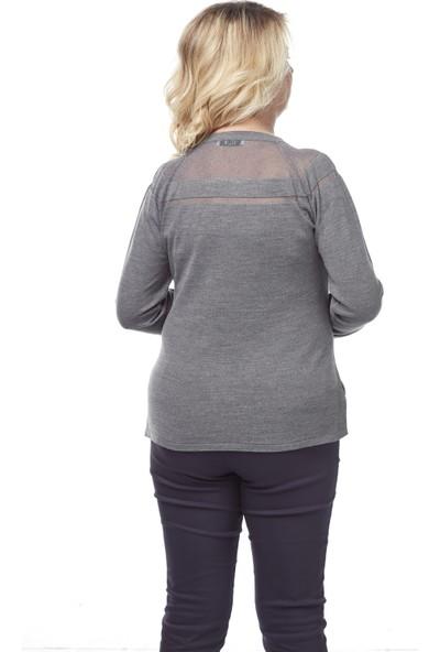 Selis Kadın Büyük Beden Triko Bluz 6151 Gri/Grey 28W78006151