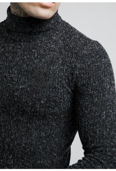 Siksilk Siyah Knitwear Balıkçı Yaka Erkek Triko Kazak