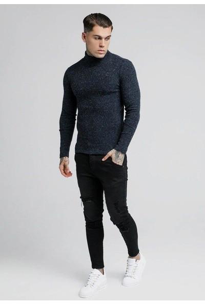 Siksilk Lacivert Knitwear Balıkçı Yaka Erkek Triko Kazak