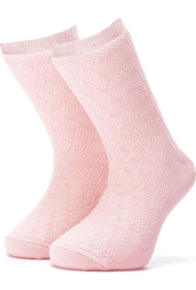 Ciorap Kız Çocuk Açık Pembe Örgülü Çorap 2419