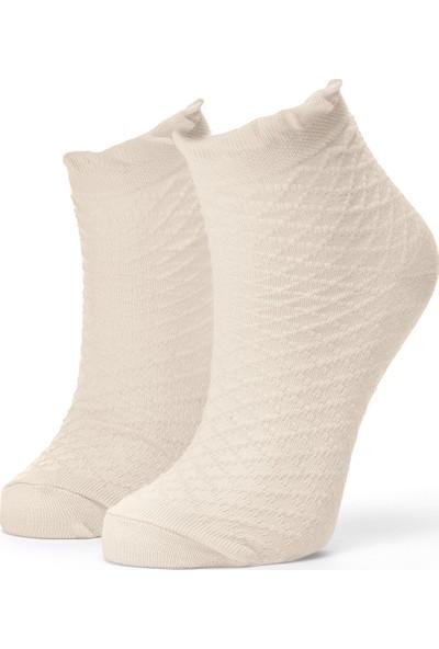 Ciorap Kız Çocuk Bej Elmas Desenli Çorap 2415