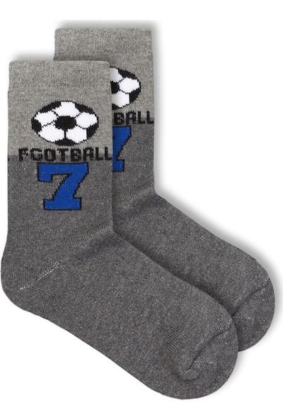 Ciorap Erkek Çocuk Gri Futbol Topu Desenli Havlu Çorap 2440