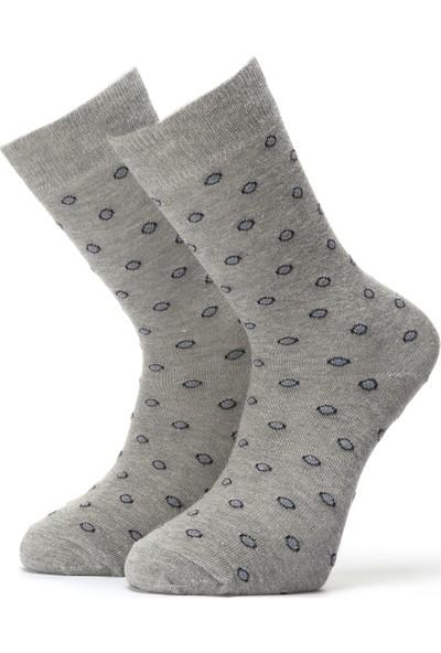 Ciorap Erkek Açık Gri Yuvarlak Desenli Çorap 4416