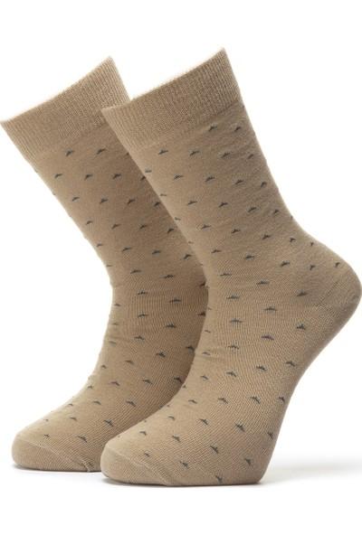 Ciorap Erkek Bej Nokta Desenli Özel Yün Çorap 4412