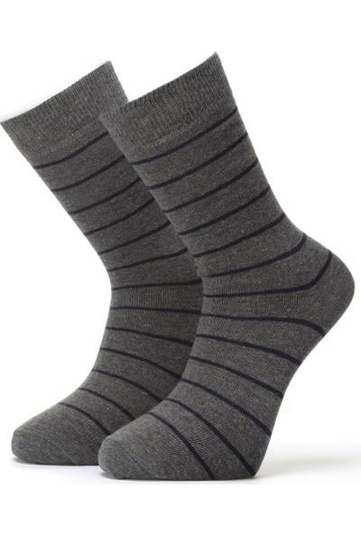 Ciorap Erkek Füme Çember Desenli Çorap 4410