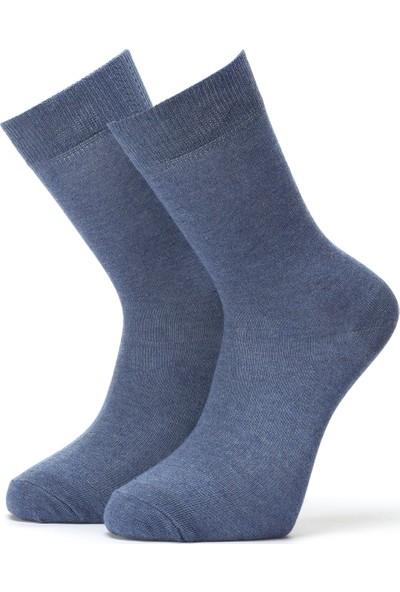 Ciorap Erkek Jean Mavi Düz Çorap 4450