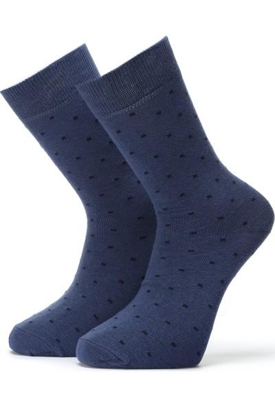 Ciorap Erkek Jean Mavi Nokta Desenli Çorap 4408