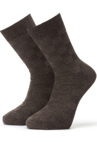 Ciorap Erkek Kahverengi Kabartma Desenli Çorap 4407