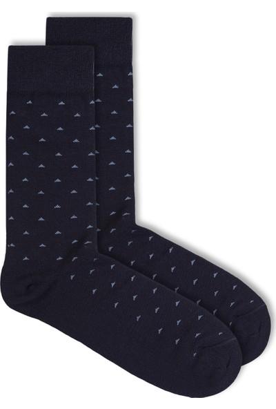 Ciorap Erkek Lacivert Nokta Desenli Özel Yün Çorap 4412