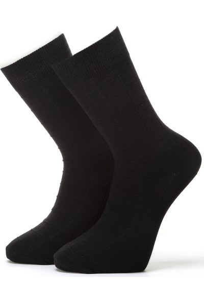 Ciorap Erkek Siyah Kendinden Desenli Çorap 4414