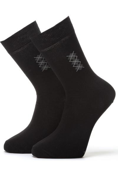 Ciorap Erkek Siyah Konçta Ekose Desenli Çorap 4409