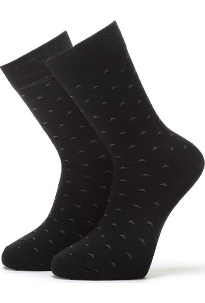 Ciorap Erkek Siyah Nokta Desenli Özel Yün Çorap 4412