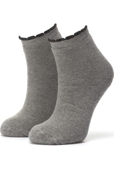 Ciorap Kadın Açık Gri Pikotlu Çorap 3454