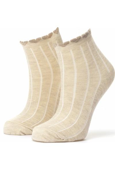 Ciorap Kadın Bej Kalpli Pikotlu Çorap 3458