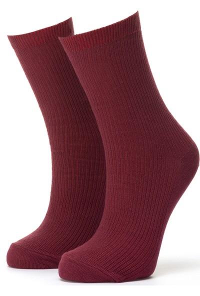 Ciorap Kadın Bordo Klasik Çorap 3453