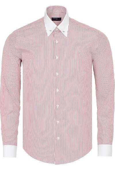 Paşahan Erkek Çizgili Yaka İğneli Slim Fit Gömlek
