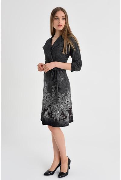 Jument Kadın 4227 Kahve Çiçek Elbise