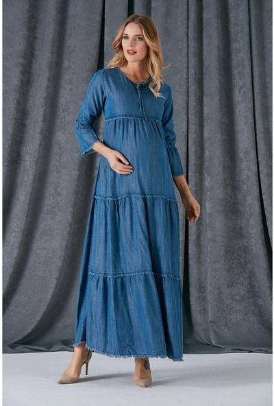 Görsin Uzun Hamile Kot Elbise
