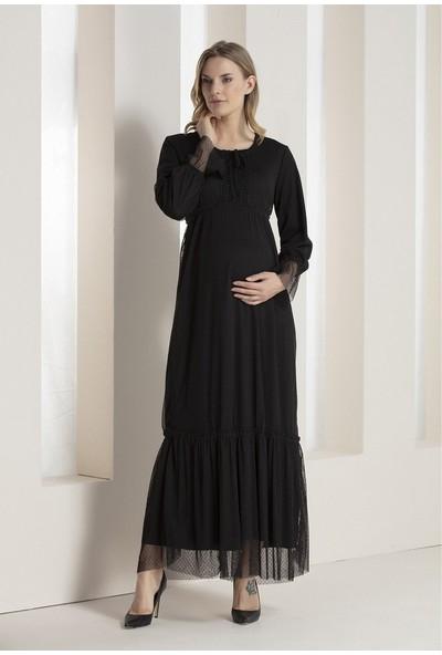 Görsin Puantiye Tüllü Dantel Detaylı Hamile Elbise