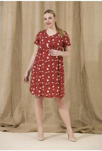 Görsin Çiçek Desen Hamile Elbise