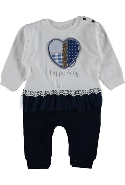 Happy Baby Kalpli Nakışlı Kız Bebe Tulum 6 ay