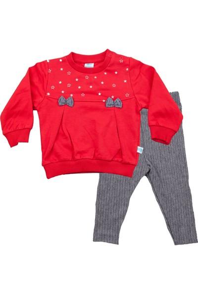 Nazar Bebe Yıldız Baskılı Fiyonklu Kırmızı Takım