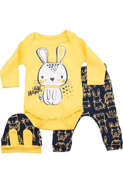 Miniworld Happy Tavşan Sarı Bodyli Takım