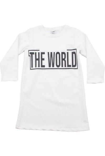 Nnk The World Yazılı Beyaz Kız Elbise