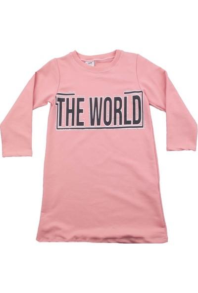Nnk The World Yazılı Pembe Kız Elbise