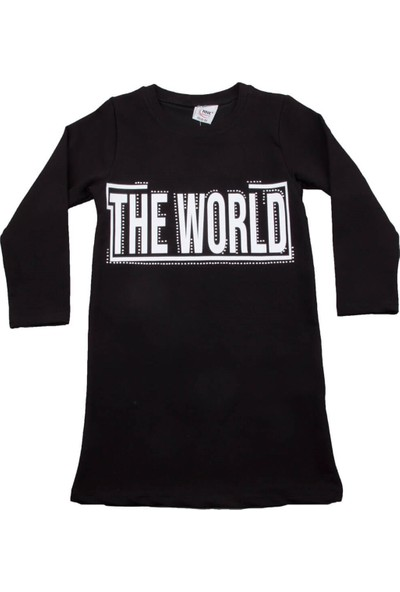 Nnk The World Yazılı Siyah Kız Elbise