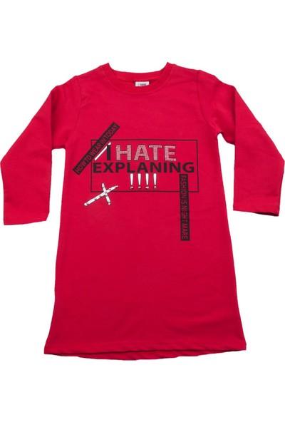 Nnk Hate Explaning Yazılı Kırmızı Elbise