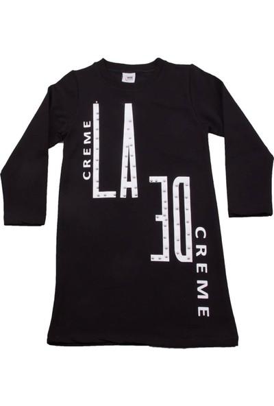 Nnk Creme Yazılı Siyah Elbise