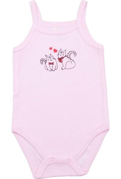 Fuar Baby Kedi Desenli Pembe İp Askılı Body
